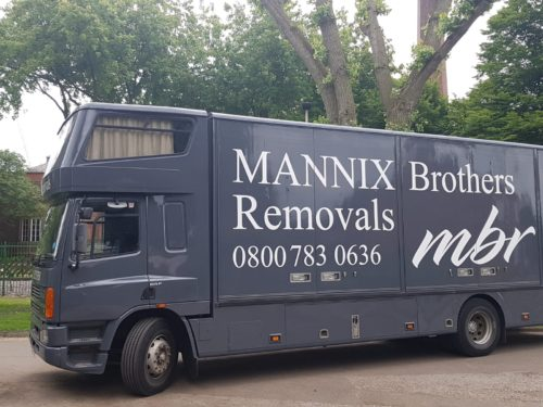 Removals lorry closeup